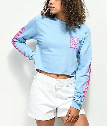 Valley High Checked Out Blue Crop Long Sleeve T-Shirt