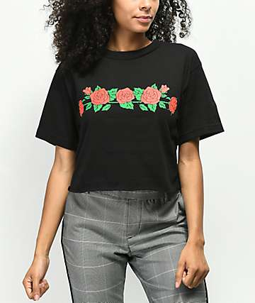 Valley High Salty Not Salty Black Crop T-Shirt
