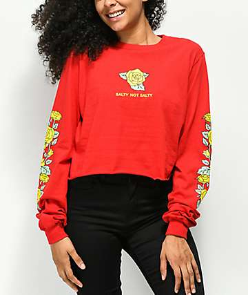 Valley High Salty Not Salty Red Crop Long Sleeve T-Shirt