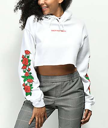 Valley High Salty Not Salty White Crop Hoodie