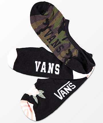 Vans 3 Pack Camo Canoodle No Show Socks