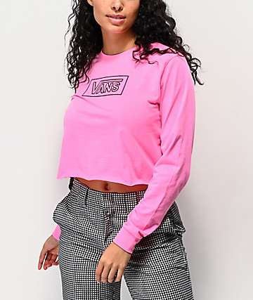 Vans After Dark Knockout Pink Crop Long Sleeve T-Shirt