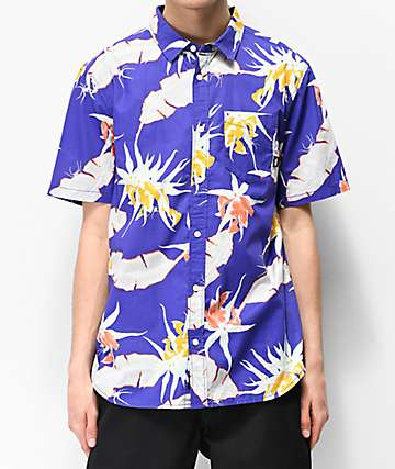 Vans Arachnofloria Purple Woven Short Sleeve Button Up Shirt