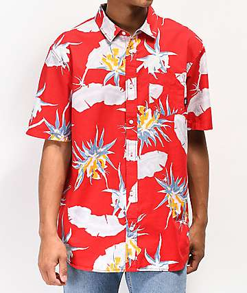 Vans Arachnofloria Red Short Sleeve Button Up Shirt