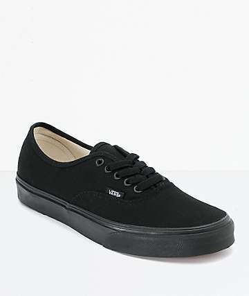 0955189915d3 Vans Authentic Black Canvas Skate Shoes