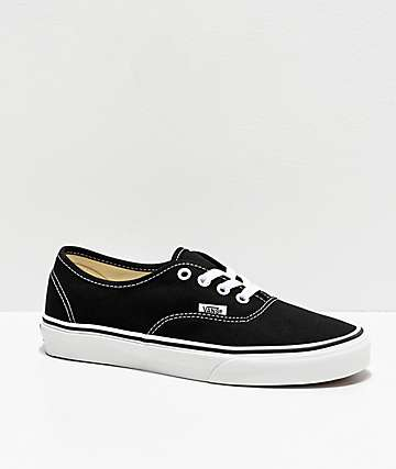 10badb90b88b Vans Authentic Black and White Canvas Skate Shoes