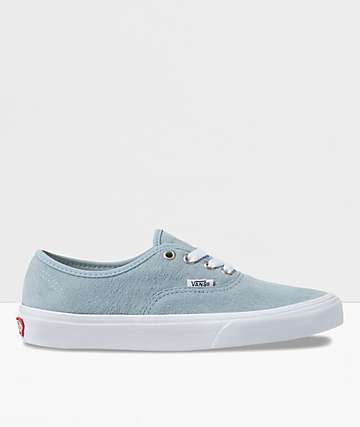 Vans Authentic Blue Fog & White Pig Suede Skate Shoes