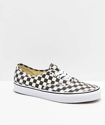 Vans Authentic Blur Black & White Checkerboard Skate Shoes