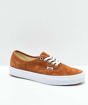 Vans Authentic Brown Pig Suede Skate Shoes