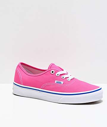 Vans Authentic Carmine Rose, White & Blue Skate Shoes