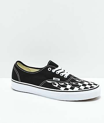Vans Authentic Checkerboard Flame Black   White Skate Shoes b29971f03