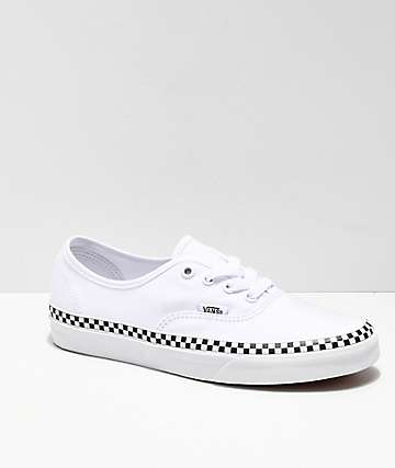 1230dec2458f Vans Authentic Checkerboard Foxing White Skate Shoes
