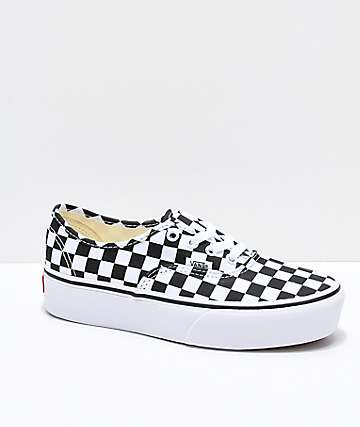Vans Authentic Checkerboard Platform Skate Shoes
