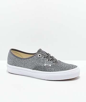 Vans Authentic Glitter Black & White Skate Shoes