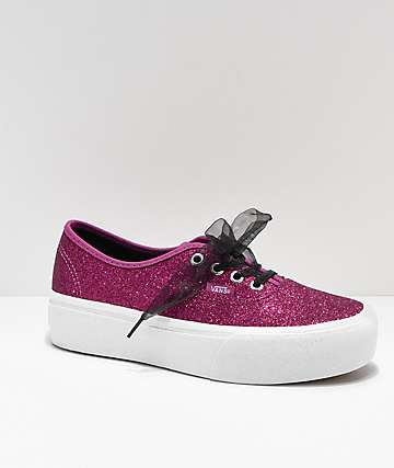 Vans Authentic Glitter Pink Platform Skate Shoes
