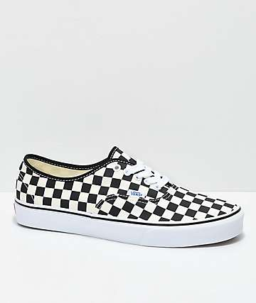 7752255088 Vans Authentic Golden Coast   Black Checkered Skate Shoes