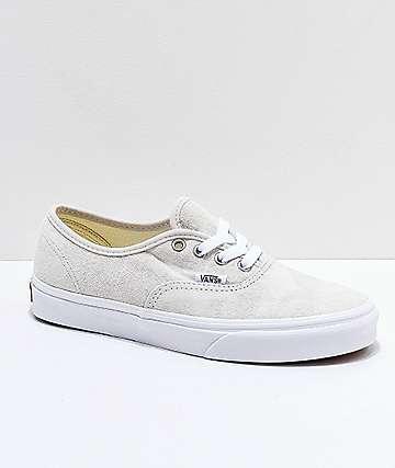 Vans Authentic Moonbeam & True White Pig Suede Skate Shoes