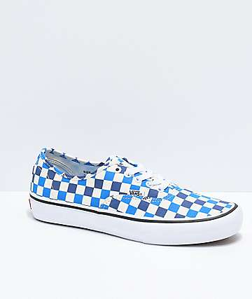Vans Authentic Pro zaptos de skate de cuadros azules