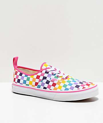 Vans Authentic Rainbow Checkerboard Skate Shoes