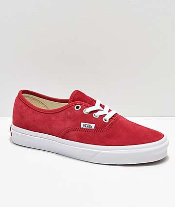 Vans Authentic Scooter Red Suede Skate Shoes