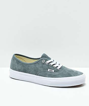 Vans Authentic Stormy Grey & White Pig Suede Skate Shoes