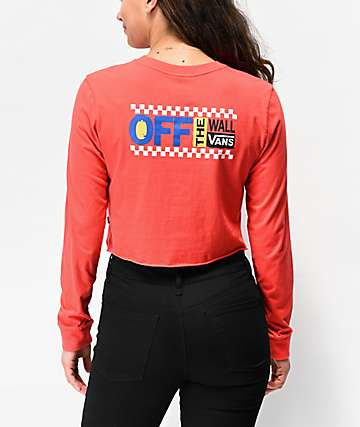 Vans Avenue Poppy Red Long Sleeve Crop T-Shirt