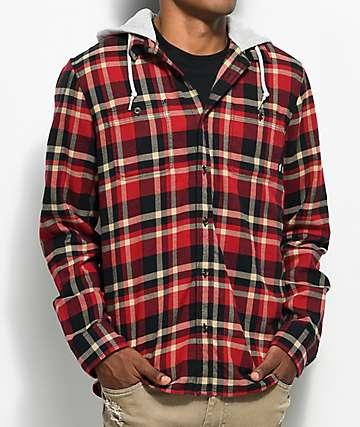 Vans Banfield camisa de franela en rojo, negro y color caqui con capucha