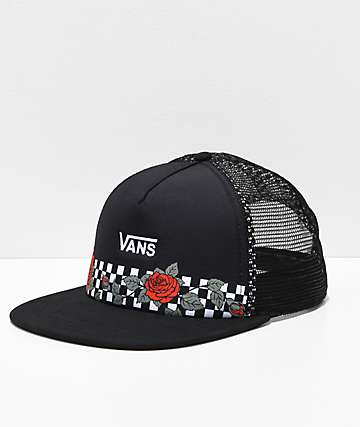 6c42eccc45c Vans Beach Girl Rose Black Mesh Snapback Hat