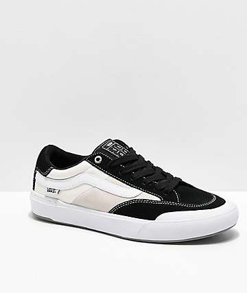 Vans Berle Pro Black & White Suede Skate Shoes