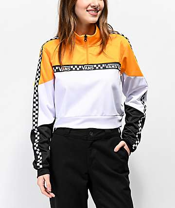 Vans Black, White & Yellow Half-Zip Crop Windbreaker Jacket