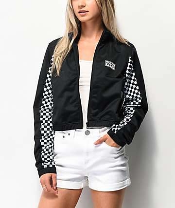 Vans Black & Checkerboard Crop Windbreaker Jacket