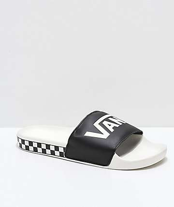 695c4f2ade0 Vans Black   Marshmallow Checkerboard Side Slide Sandals