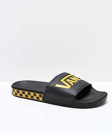 2d21d04ab5b Vans Black   Sunflower Checkerboard Side Slide Sandals