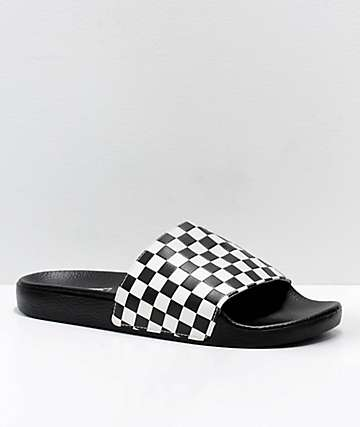 c1b3c94b5ce Vans Black   White Checkerboard Slide On Sandals
