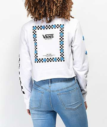 Vans Bloom White & Blue Long Sleeve Crop T-Shirt