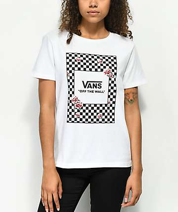 Vans Box Check Rose camiseta blanca
