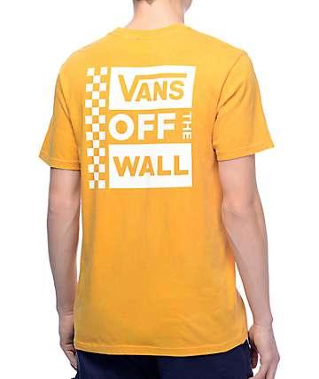 Vans Box Logo camiseta en blanco y color mostaza