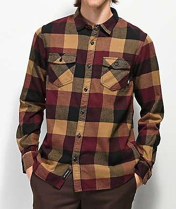 Vans Box camisa de franela marrón y borgoña