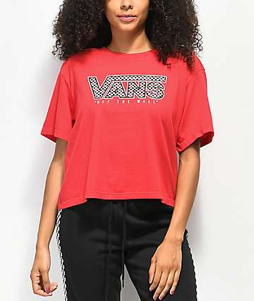 50e80cc2e0f90 Vans Boxy Mix Checkerboard Red Crop T-Shirt