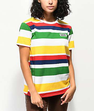 Vans Boyfriend Rainbow Stripe T-Shirt