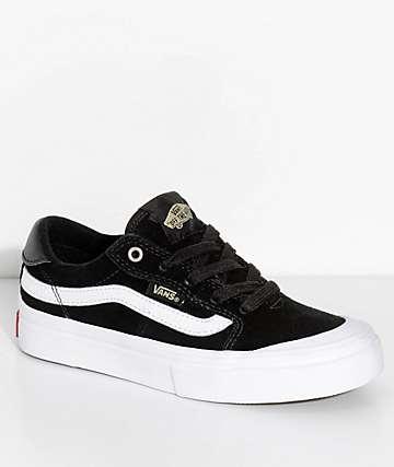 Vans Boys 112 Black, Black & White Shoes
