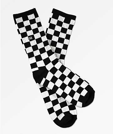 Vans Boys Black & White Checkerboard Crew Socks