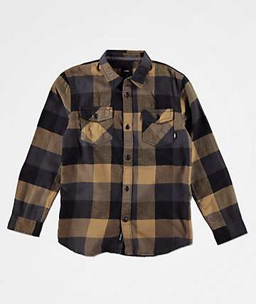 Vans Boys Box Dirt Black Flannel Shirt