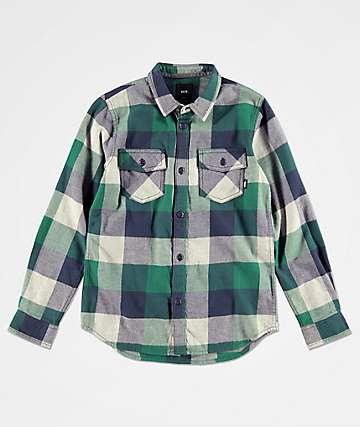 Vans Boys Box Green & Blue Flannel Shirt