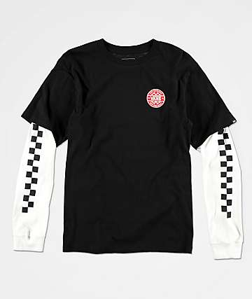 Vans Boys Checker Co. Twofer Black & White Long Sleeve T-Shirt