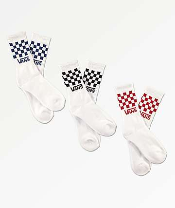 Vans Boys Checkerboard White 3 Pack Crew Socks