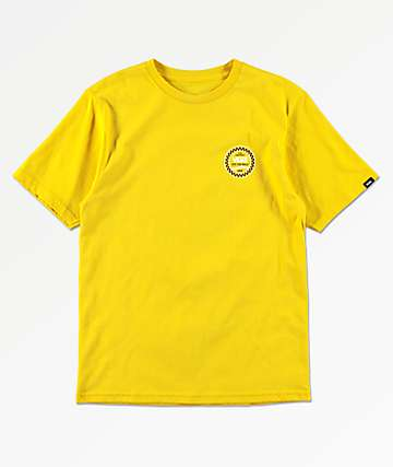 Vans Boys Checkered Side Stripe Sulphur Yellow T-Shirt