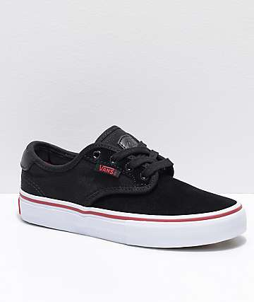 Vans Boys Chima Pro Black, Red & White Skate Shoes