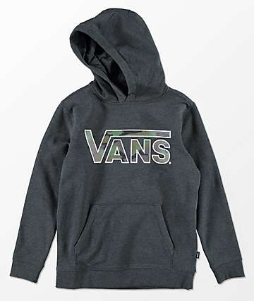 Vans Boys Classic Charcoal & Camo Hoodie