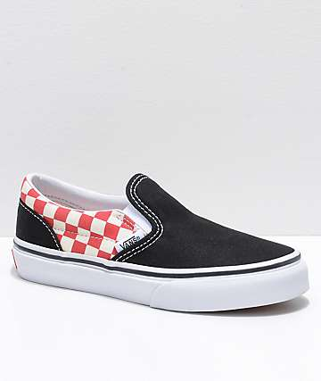 Vans Boys Classic Slip On Black & Red Checker Shoes